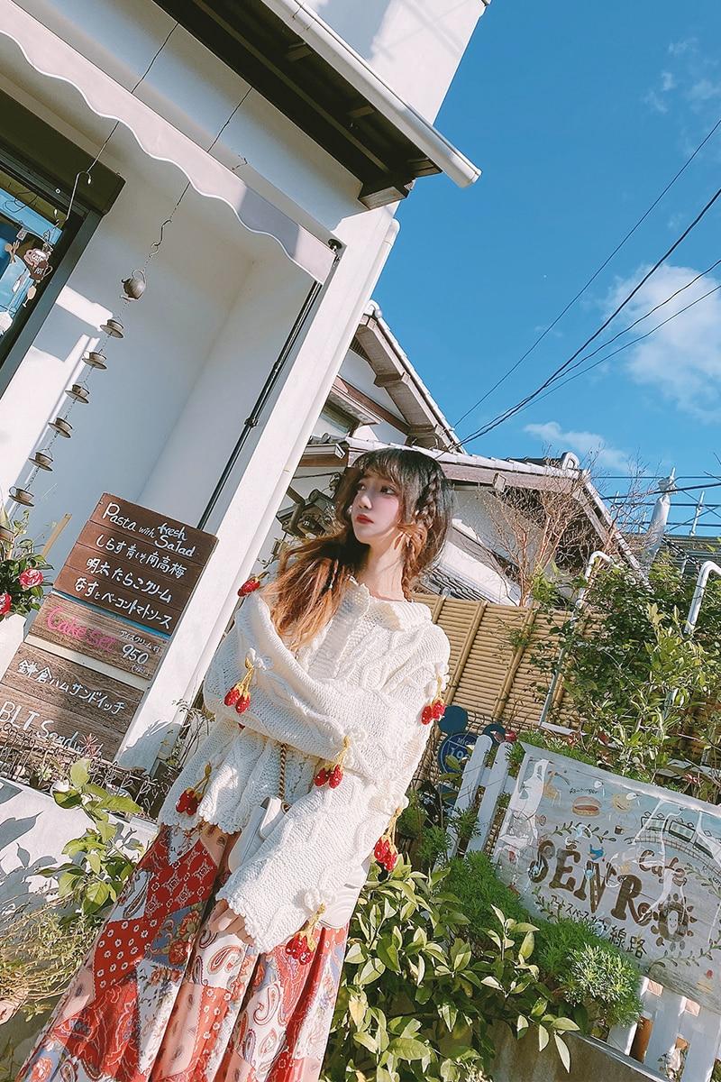 Princess sweet lolita sweater Original Japanese vintage and lovely three-dimensional small strawberry milk white sweater MC041