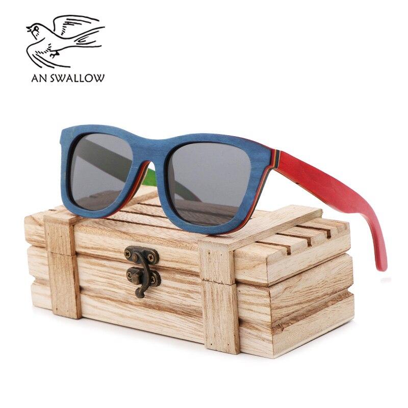 Novo estilo de bambu e óculos de madeira moda feminina polarizador skate óculos de madeira estilo explosão óculos de sol masculino
