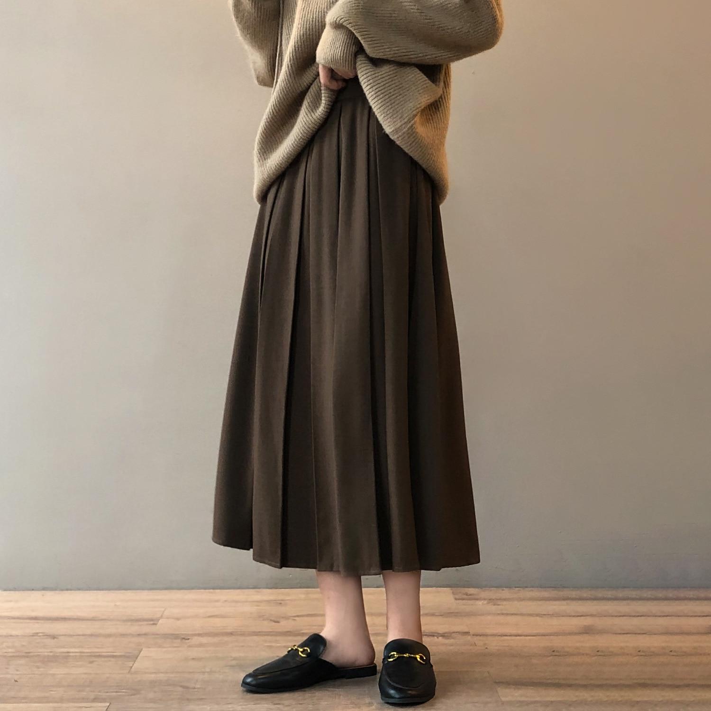 تنورة عالية الخصر الإناث 2021 الخريف والشتاء جديد الحلو فضفاض منتصف طول مطوي تنورة DS400