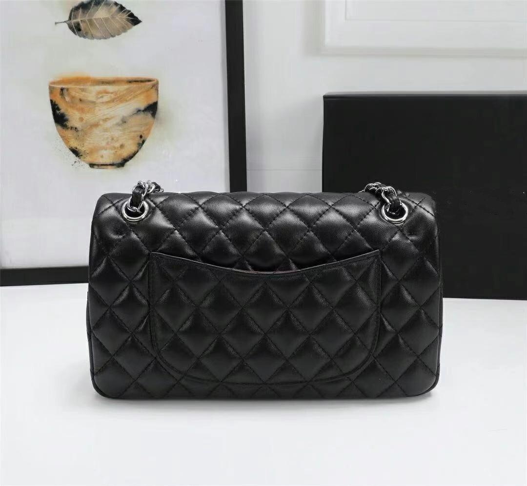 حقيبة ساعي حقيبة الإناث 100% جلد الغنم المعين سلسلة حقيبة حقيبة كتف حقيبة كتف جلدية عصرية حقيبة أنيقة محفظة