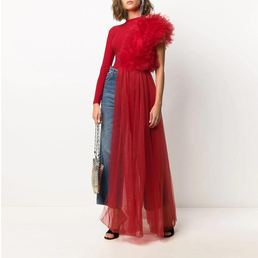 هاي ستريت خريف أحمر تول غير متماثل بدلة طويلة تول للنساء بذلة الكشكشة شبكة ثوب فضفاض للمرأة ملابس كتف واحد