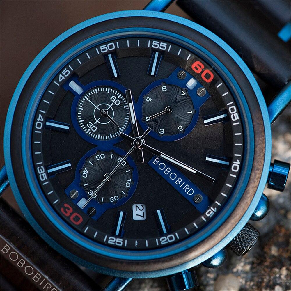 New Men Blue Watch BOBO BIRD Wooden Auto Date Wristwatch Top Brand Luxury Fashion Luminous Hands Timepiece Chronograph Gift Box