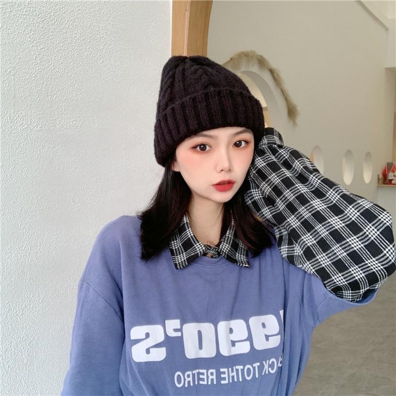 Japanese Twist Woolen Cap Women's Autumn and Winter Korean Knitted Hat All-Matching Cotton-Padded Ca
