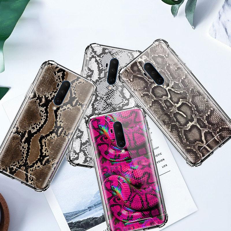 Funda de piel de serpiente leopardo para Oneplus 8 7 7T Pro 5G 6T 6 One Plus 7Pro 8Pro Airbag Anti Des Sacs fundas de teléfono claras suaves