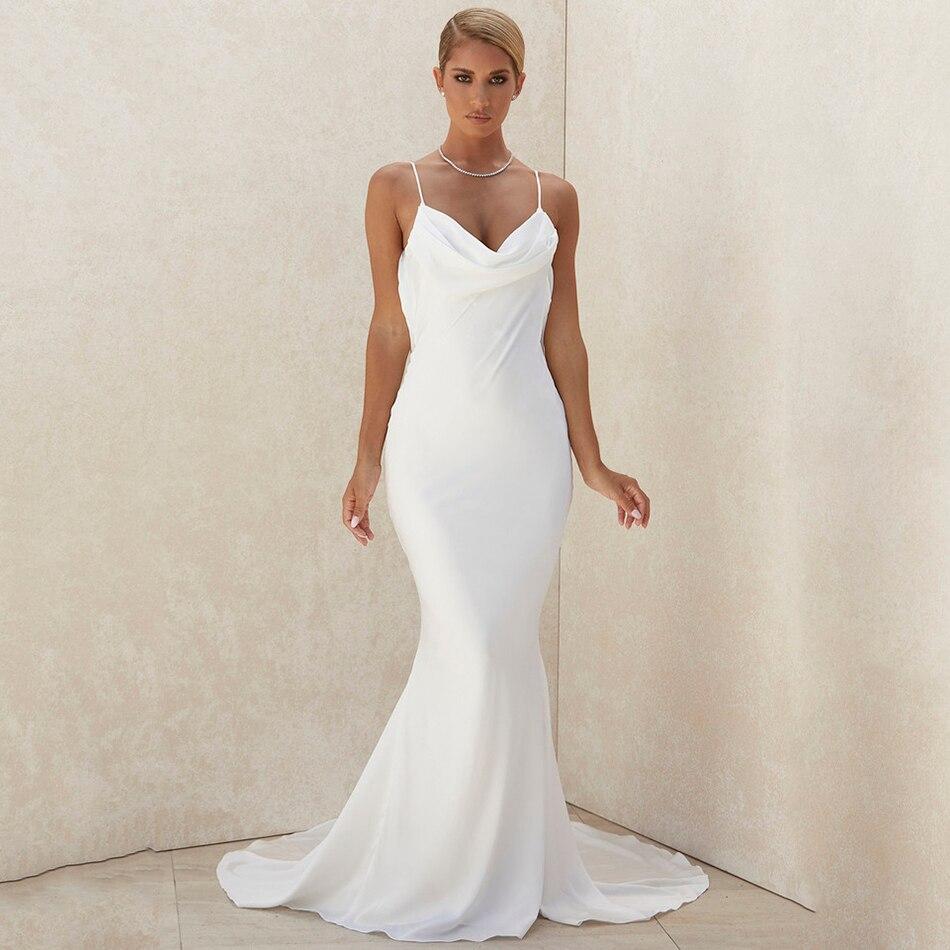 فستان أبيض نحيف مثير بعنق على شكل V 2021 موضة جديدة للصيف للنساء بحمالات رفيعة للنادي فساتين طويلة للحفلات المسائية