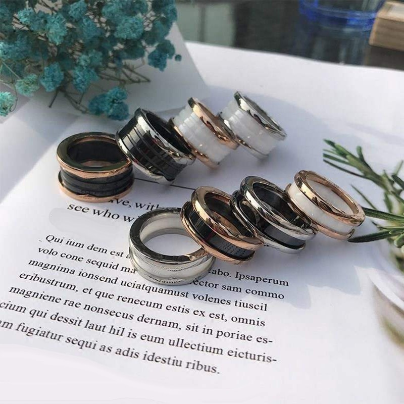 Original Brand Female Male Ttanium Steel Ring White Black Ceramic BV Ring Spring Wedding Replica Ring Huanbao  Couples