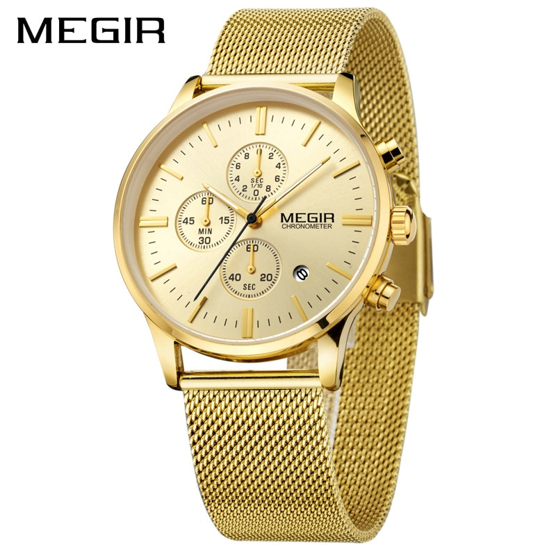 Reloj MEGIR de acero inoxidable dorado para hombre, relojes de cuarzo luminosos, resistente al agua, reloj cronógrafo para hombre