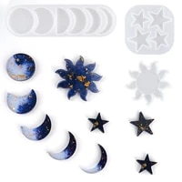 carerjew ins wind star moon sun necklace mold diy mirror crystal crystal epoxy silicone resin planet pendant bracelet mould