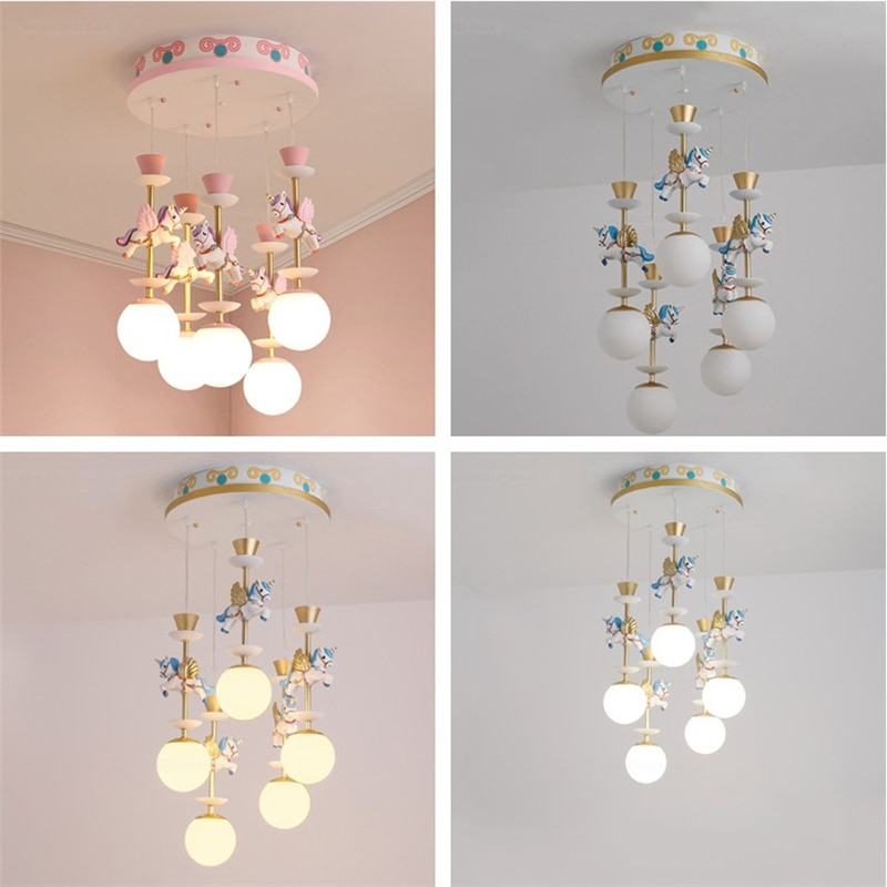 تركيبات إضاءة قلادة الحديثة كاروسيل غرفة الأطفال قلادة أضواء صبي/فتاة غرفة الأطفال مصباح غرفة النوم غرفة المعيشة قلادة