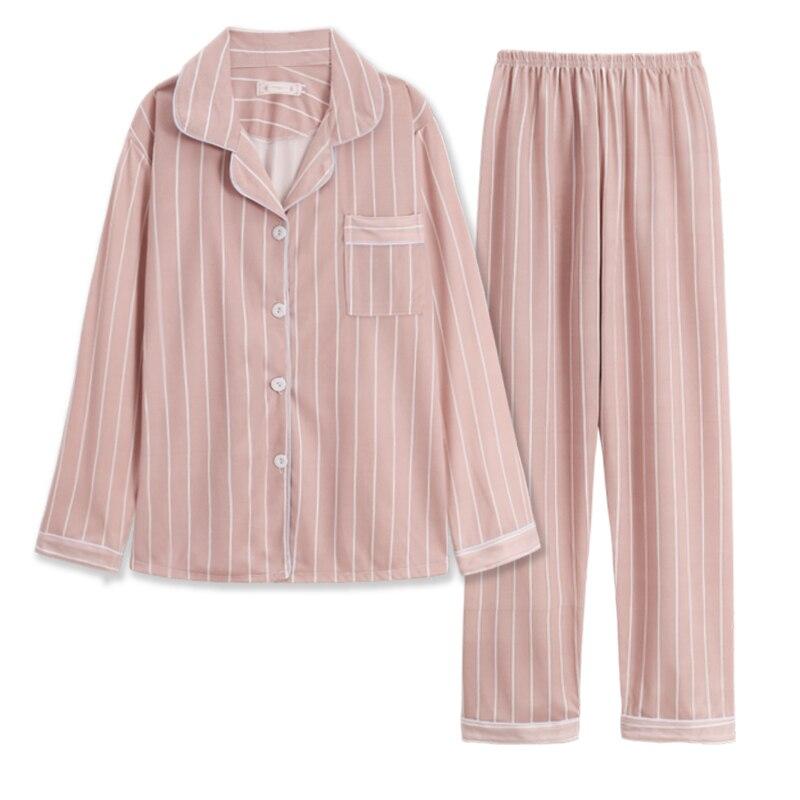 Mulheres Pijama Define WAVMIT Conjunto De Pijama De Algodão Mulheres Cor Sólida Listras Pijama Conjunto de Manga Longa Sleepwear Mulheres Top Longo Pant