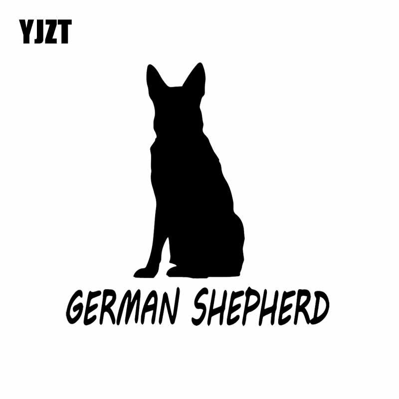 YJZT 14.3X14.3CM Vinyl Decal German Shepherd Dog Pet Animal Best Friend Car Sticker Cartoon Black/Silver C24-1337
