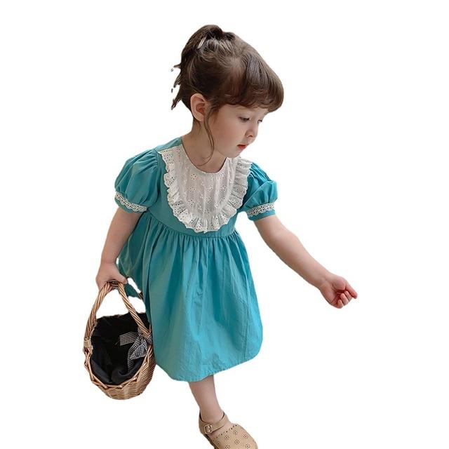 2021 Summer Children Casual Dress Kid Clothes Pasted Cloth Korean Baby Short Sleeve Princess Skirt Kids Dresses for Girls 10