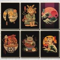 Affiches de peinture en papier Kraft  dessin anime japonais  chat samourai  Ramen  decoration artistique pour la maison  qualite HD