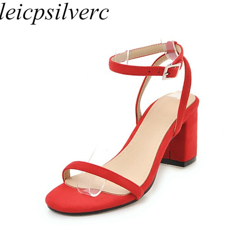 Women Sandals Beach Shoes High Heel Flock Peep Toe Buckle 2019 Summer New Sexy Fashion Casual Wedding Office Black Beige Red