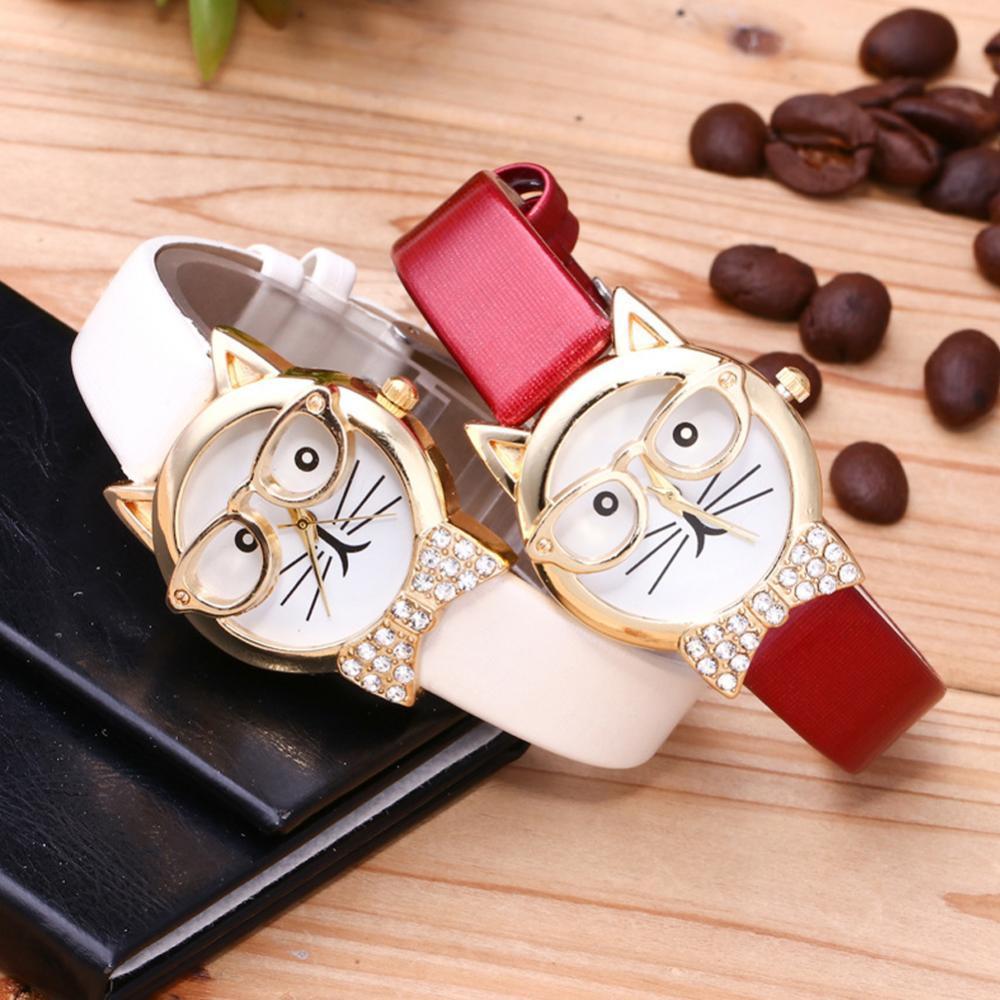 Cute Cat Face Round Dial Rhinestone Faux Leather Wristwatch Women Analog Quartz Wrist Watch Female Ladies Clock Birthday Gift