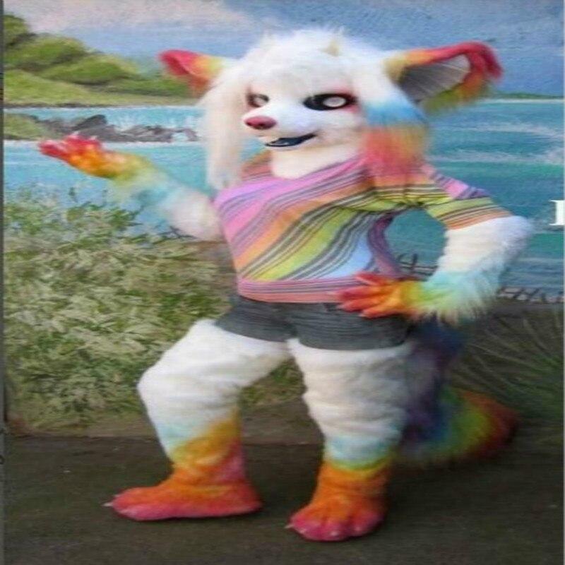 Colorido zorro largo de piel de Animal Fursuit Furry Cosplay mascota traje de fiesta Fursuit conjunto de Carnaval Halloween Navidad Ad ropa