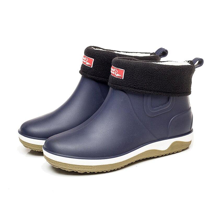 Botas de chuva homens curto baixo-topo botas de chuva antiderrapante lavagem de carro sapatos de água à prova dwaterproof água mais veludo quatro estações botas de moda