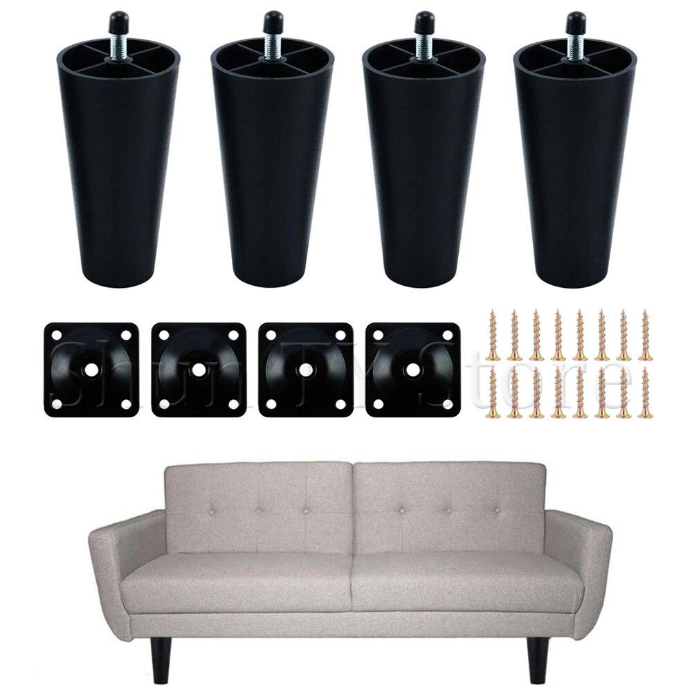 4 шт. многоразмерные пластиковые ножки для мебели, круглые конические с болтами M8 для кушетки, кабинета, кровати, телевизора, кабинета, матов...