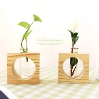 ins popular home office desktop decoration glass test tube vase hydroponic vase small vase with wood stand for green plants