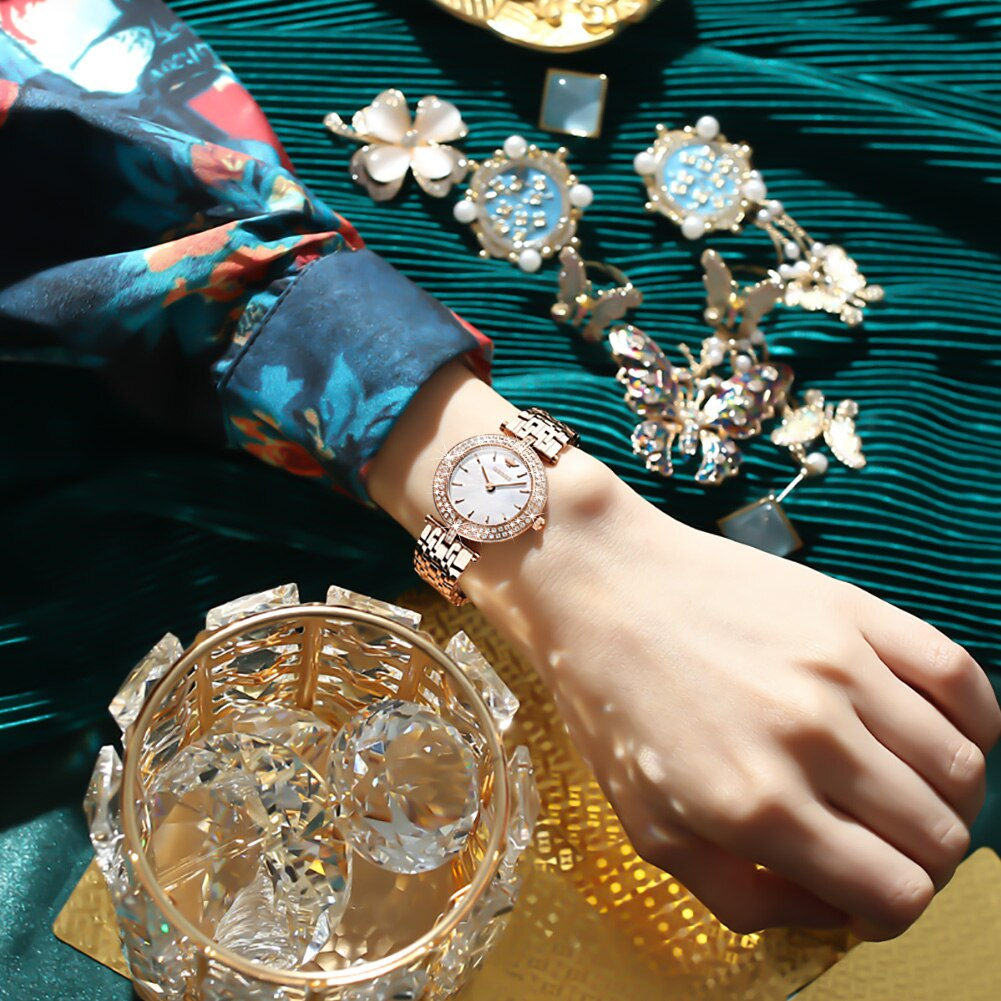 OUPINKE Swiss Movement Watches For Women Luxury Sapphire Mirror Alloy Watch Top Gift Suit Quartz Lady Wristwatch enlarge