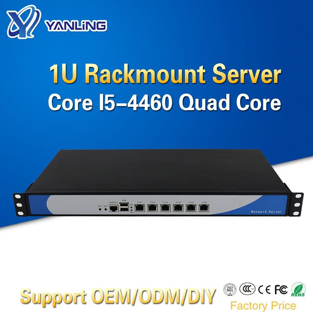 Servidor de red de computadora en la nube Yanling 1U Firewall Intel i5 4460 Quad Core 6 Lan caja de aluminio Pfsense Compatibilidad de enrutador 2 * SFP