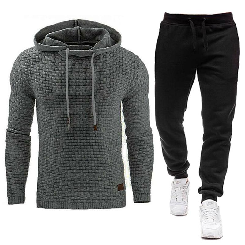 Зимний новый спортивный костюм для мужчин, брендовый мужской однотонный свитер с капюшоном + штаны, Мужской комплект с капюшоном, спортивны...