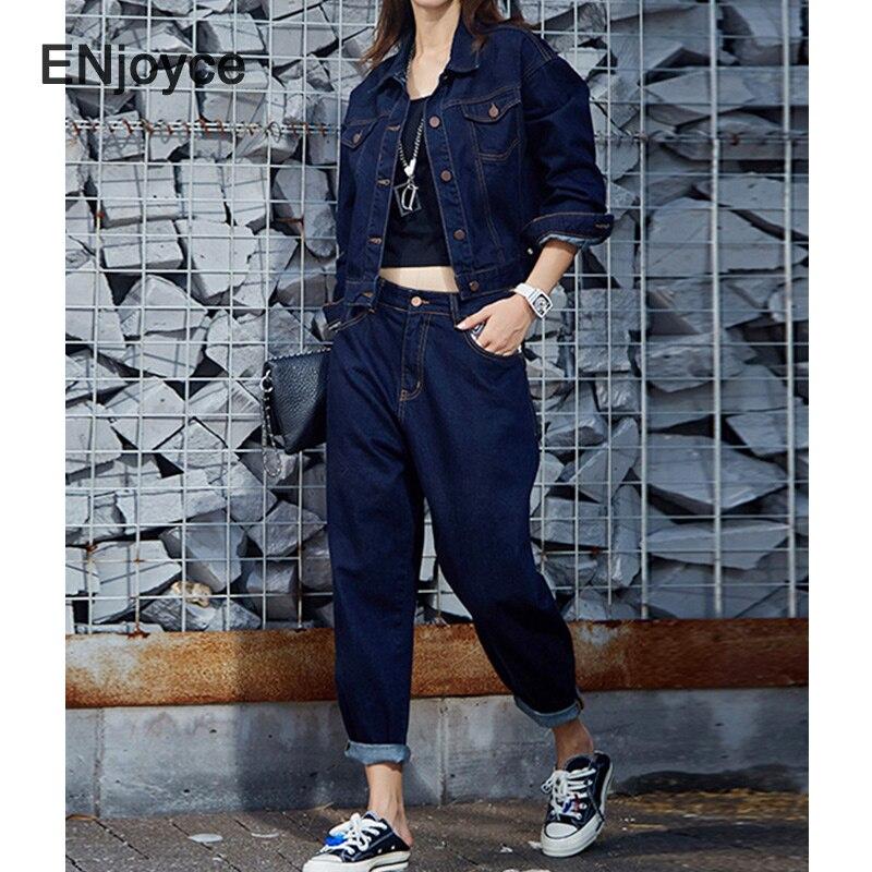 امرأة الجينز سترة مجموعات 2021 الربيع الخريف الأزرق الدنيم سترة و السراويل 2 قطعة مجموعة النساء الكورية نمط الشارع الشهير معطف يبلي