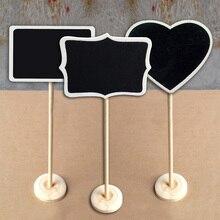 5Pcs Mini Herz Rechteck Geformt Tafel Tafel Sitz Stand Name Platten Ort Halter Tabelle Party Decor