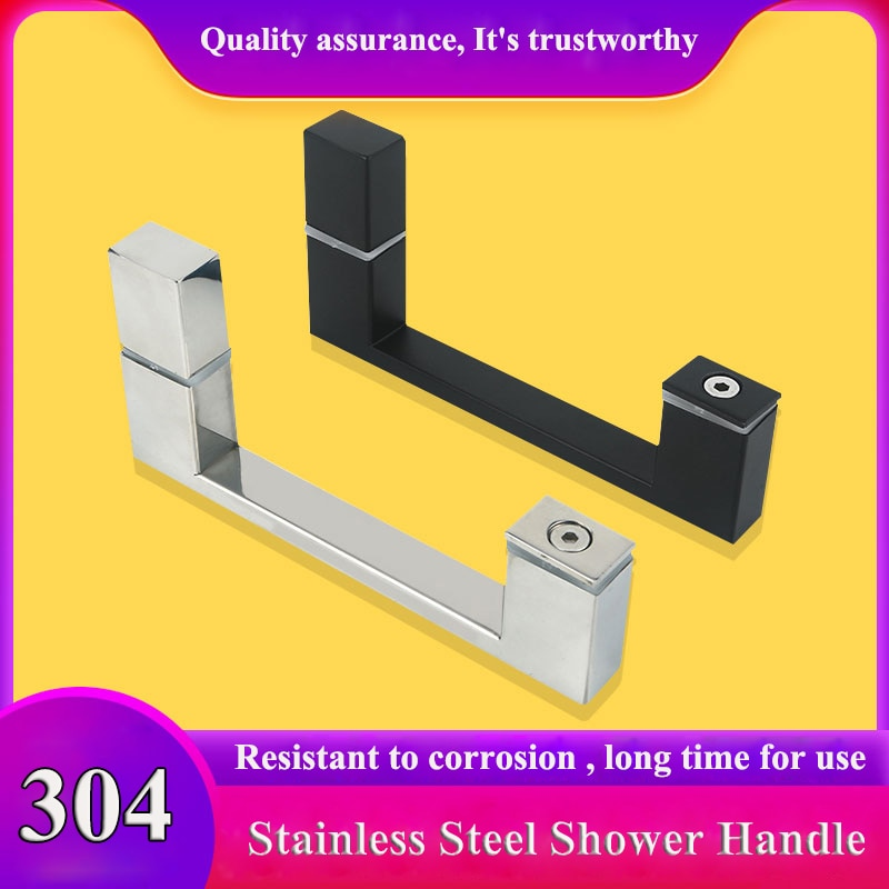 Chuveiro banheiro maçaneta da porta de vidro do banheiro maçaneta porta deslizante 304 aço inoxidável punho preto rouco 145mm