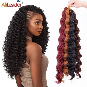 Alileader 2021New Deep Wave Crochet Hair Braid 18Inch Synthetic Water Wave Passion Twist Crochet Hair Braiding Extension 15Color