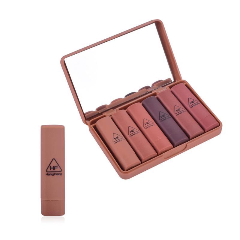 6pcs/Set Matte Lipstick Satin Velvet Teddy Honey Love Nude Lip Stick Kit Long Lasting Lip Makeup Cosmetics Gift TSLM2