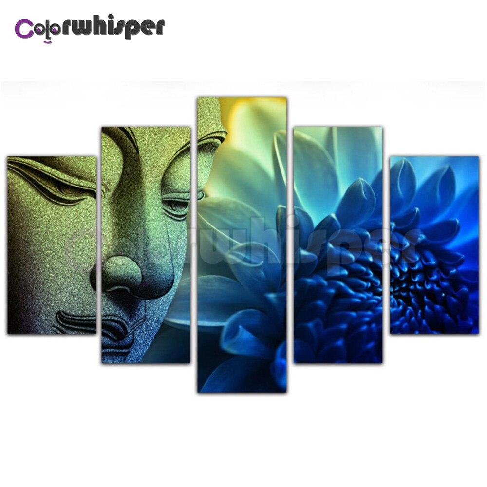 5 uds pintura de diamante 5D cuadrado completo/taladro redondo religión de Buda 3D diamante mosaico cristal cuadro de punto de cruz arte de pared TH095