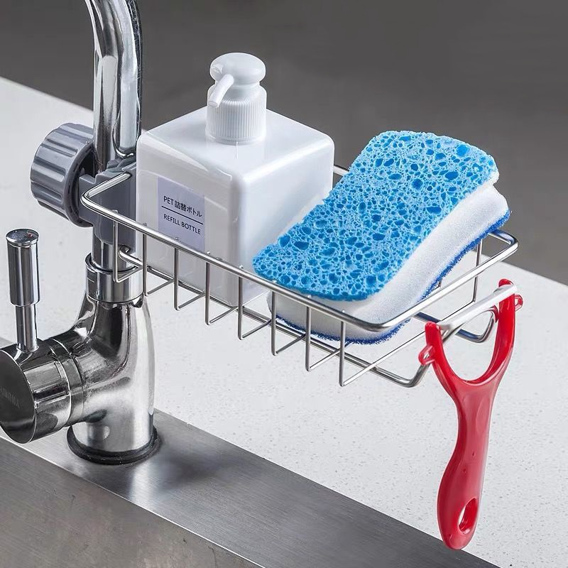 Kitchen Stainless Steel Sink Drain Rack Sponge Storage Faucet Holder Soap Drainer Shelf Basket Organ