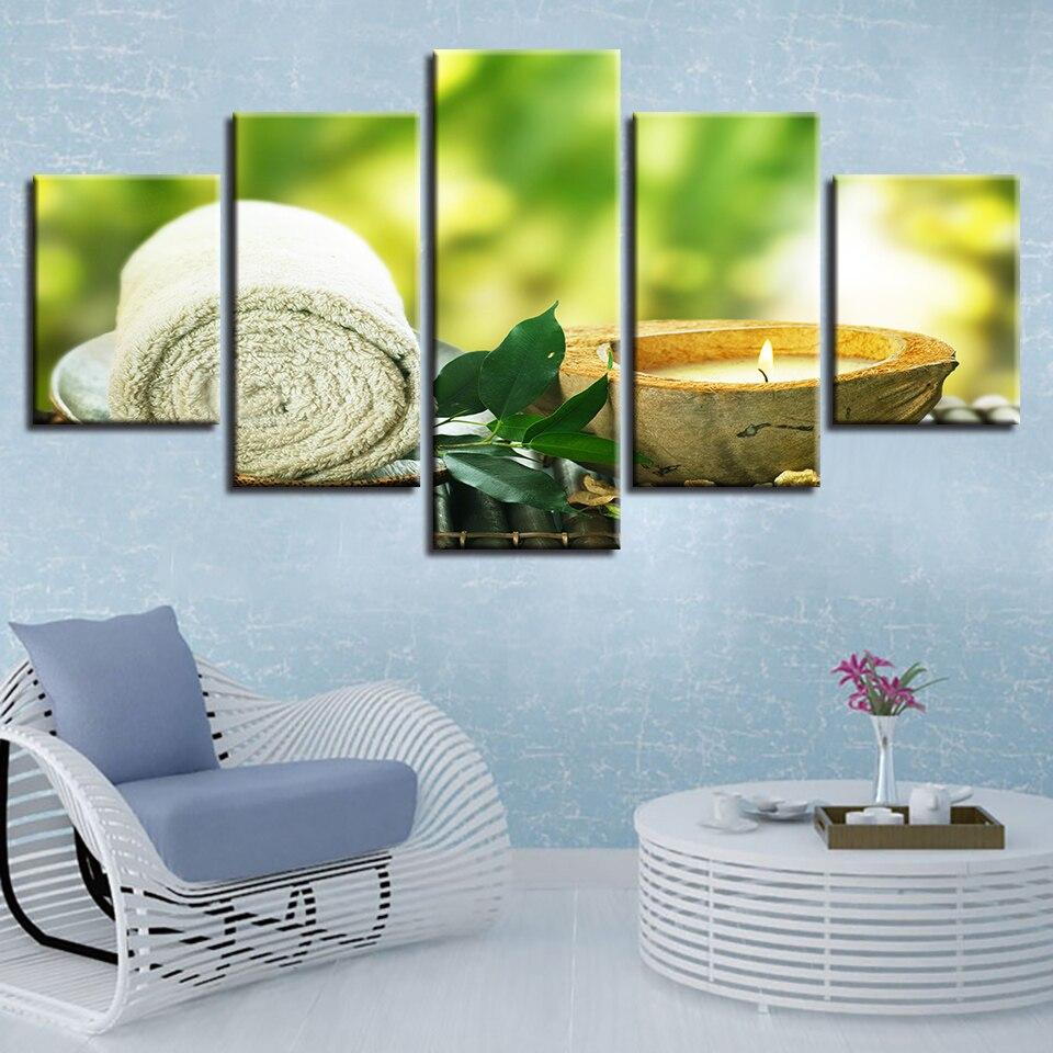 Cuadros de lienzo para decoración del hogar, impresiones de alta definición, 5 piezas, cuadros de vela de hoja de toalla, pósteres de masaje de Spa, marco de arte de pared de salón Modular
