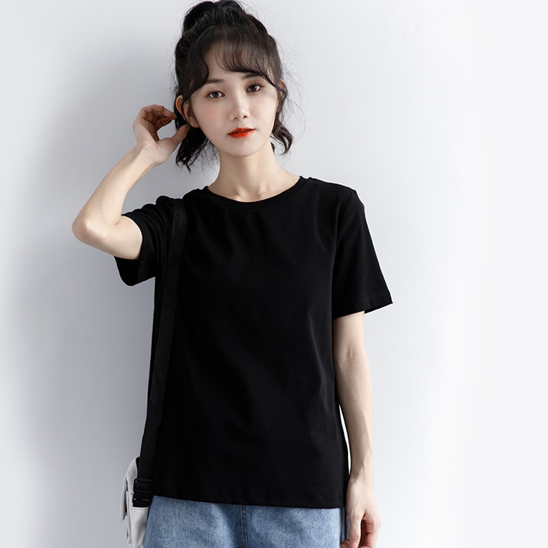 2021 New Short-Sleeved Women's Summer Loose Versatile Pure Black T-shirt round Neck Bottoming Tops I