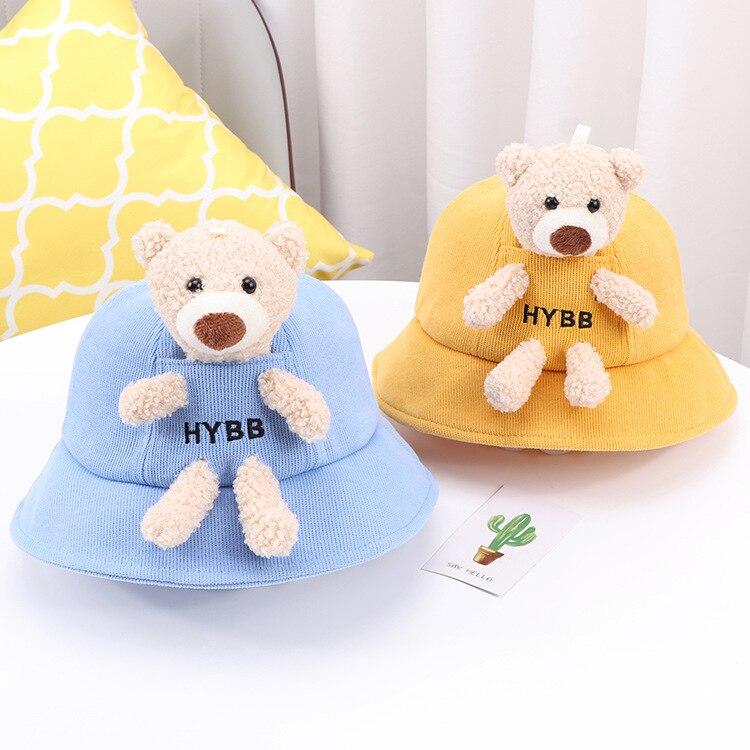 Детские осенне-зимние шапки с медведем Детские рыбацкие шапки, осенне-зимние детские солнцезащитные шапки для мальчиков и девочек