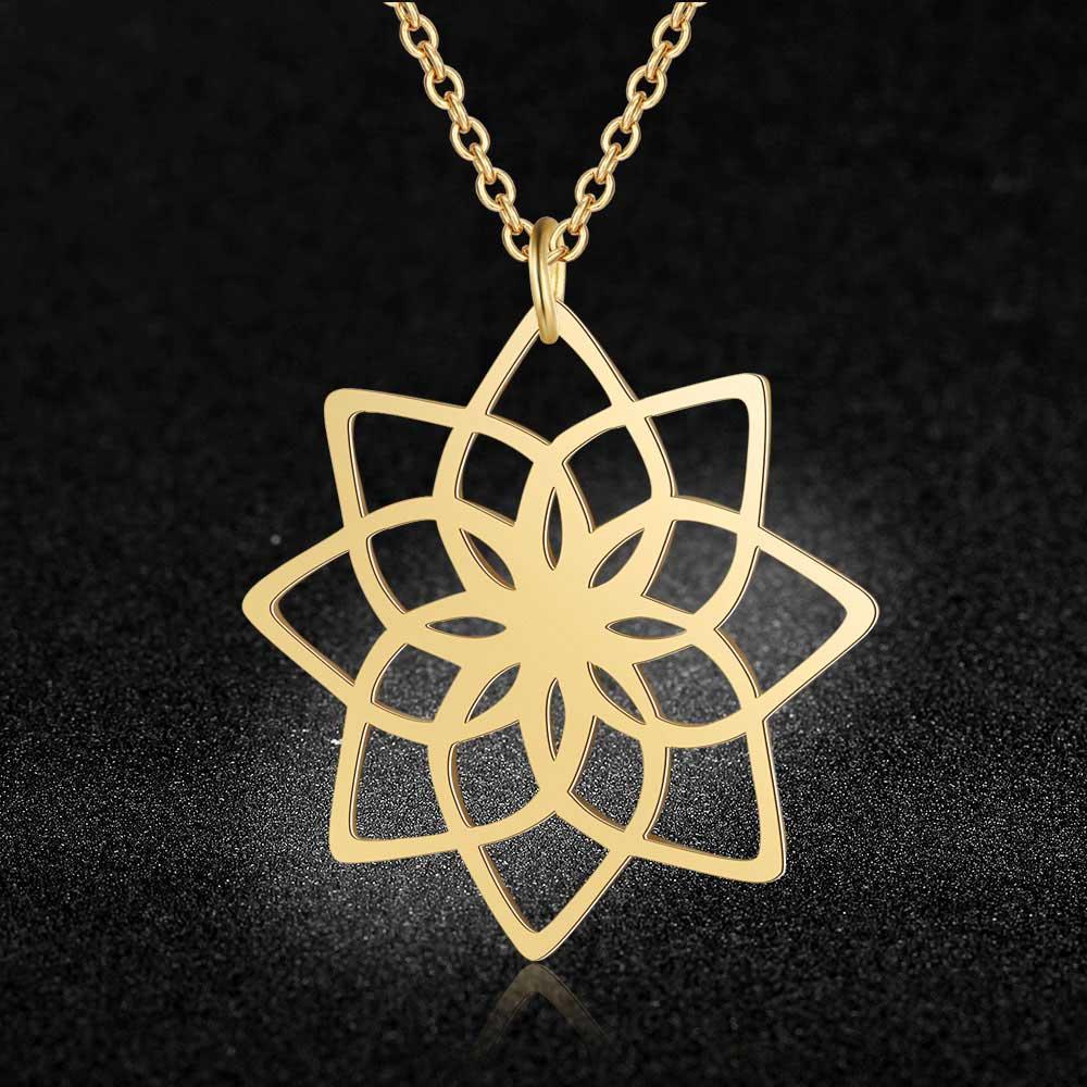100% de acero inoxidable loto hueco collar de Yoga único collar de la joyería tendencia collares de joyería de diseño de Italia