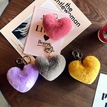 2020 لطيف المفاتيح llaveros mujer وهمية الأرنب الفراء القلب Pompom مفتاح سلسلة المرأة حقيبة فتاة سيارات بسيطة منفوش كيرينغ مجوهرات هدايا