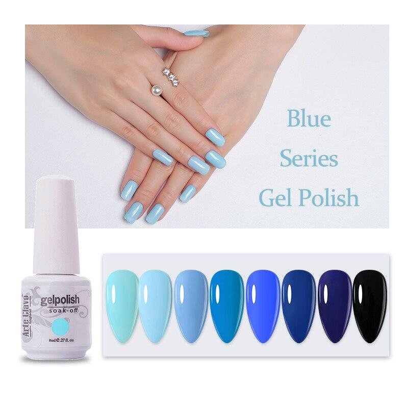 Arte Clavo Nail Gel Polish 8ml Blue Series Long-lasting Soak Off UV Varnish Lacquer Nail Art Top Base Coat Gel Polish Manicure недорого