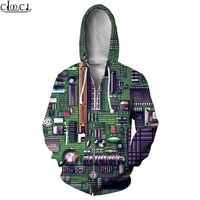 hx newest electronic chip fashion zipper hoodies streetwear 3d print men women hip hop unisex harajuku zip hoody pullover tops