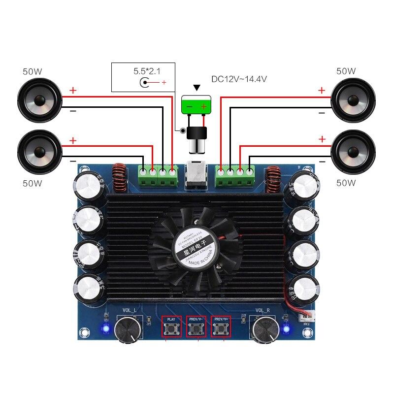 Placa Amplificadora De Audio Bluetooth Tda7850 4x50w 4 Canales Placa Amplificadora De Separación Alta Y Baja Dc12v T1405 Amplificador Aliexpress