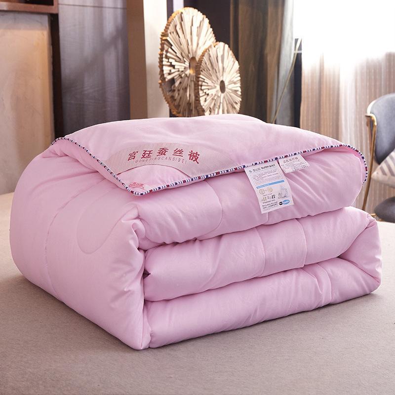 48 لحاف حريري ، للصيف والشتاء ، مفرش سرير بحجم كينغ/كوين ، صناعة يدوية ، لون نقي أبيض/وردي/رمادي/أخضر/برتقالي