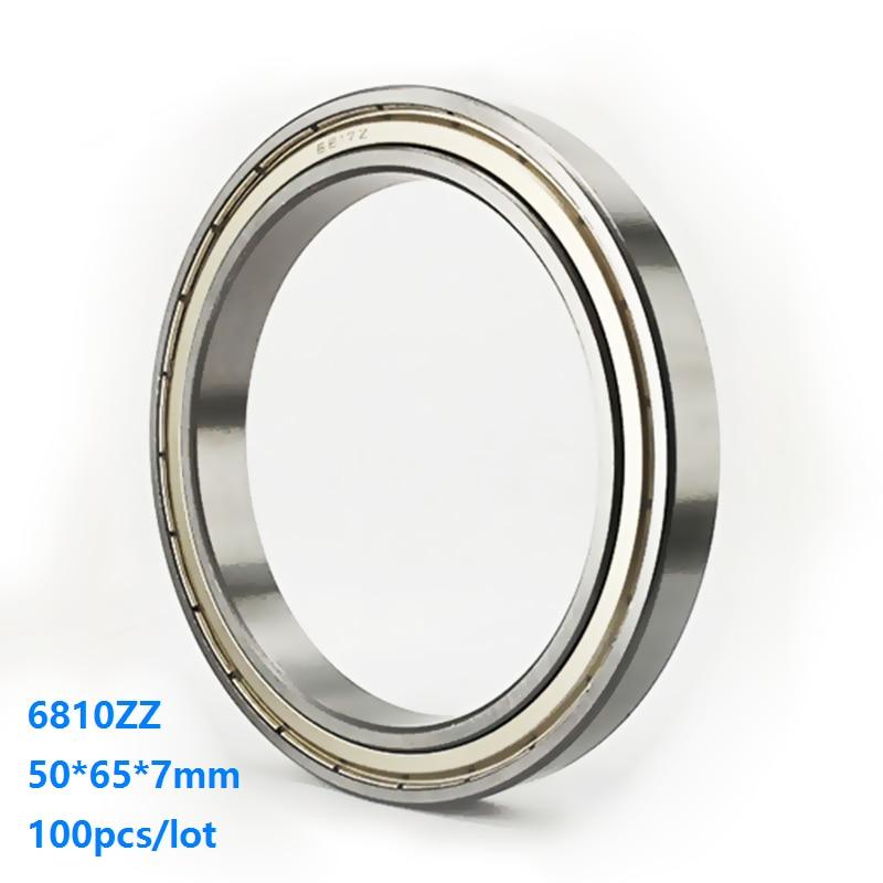 100pcs/lot 6810ZZ 6810 ZZ 50*65*7mm Double metal cover Thin Wall Deep Groove Ball bearing Deep Groove Ball Bearing 50×65×7mm