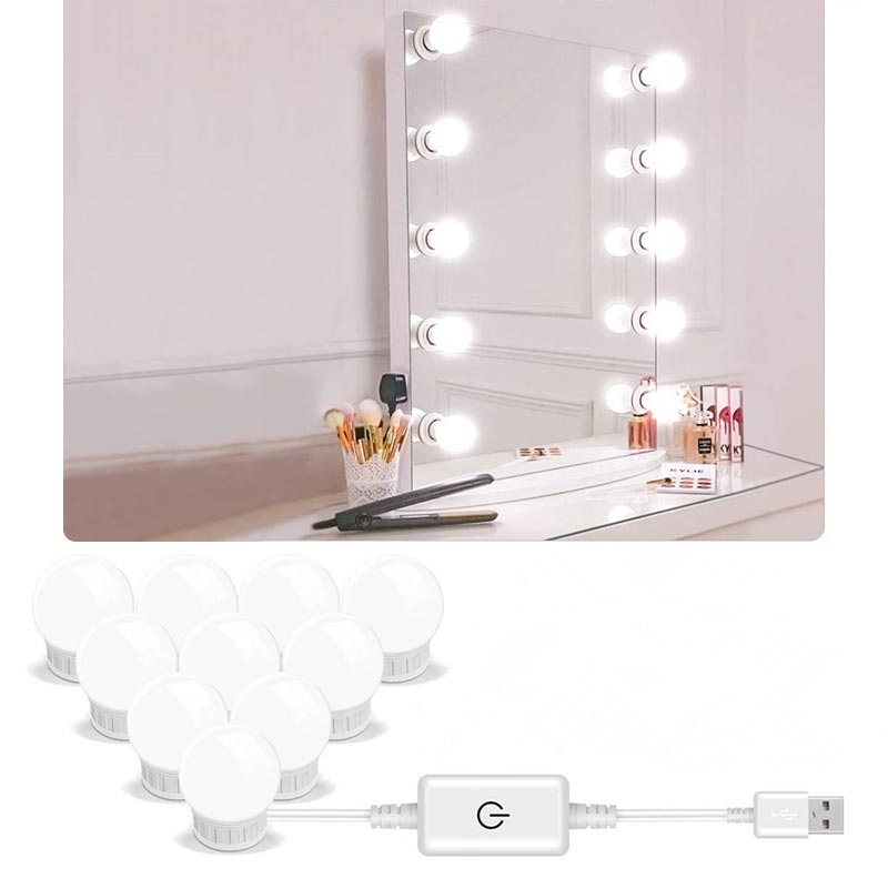 5V Led Makeup Mirror Light Bulb Hollywood Makeup Vanity Lights USB Wall Lamp 2/6/10/14pcs Dimmable D