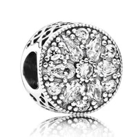 genuine 925 sterling silver bead charm openwork radiant bloom with crystal beads fit pan bracelet necklace diy jewelry