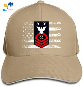Navy - MCPO - Blue - Red Without Txt Proud American Men Classic Outdoor Casquette Peak Cap