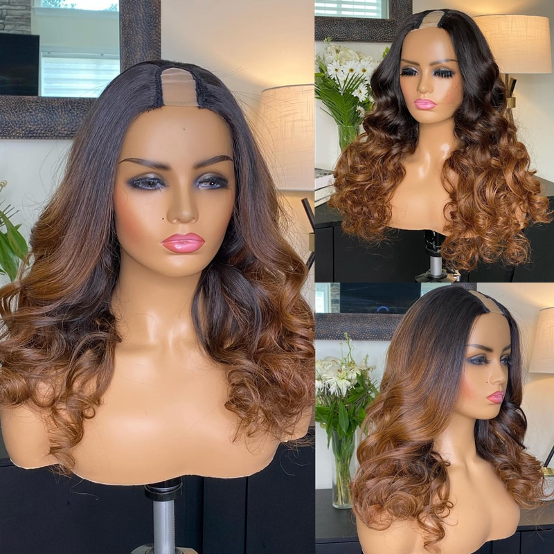 1*4/2*4 Ombre Brown U Part Wig Body Wave Human Hair Wigs Remy Hair Glueless Full Machine Wigs For Black Women