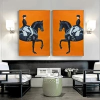 modern knight horse riding canvas painting on the wall art posters and print nordic art wall pictures for living room decor