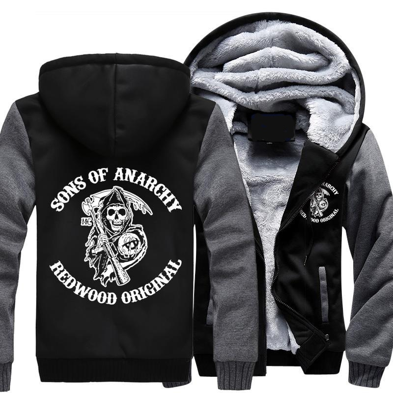 NEW For Sons of Anarchy chaos fleece cotton coats Liberalism winter zipper Print Mens Hoodies Jacket
