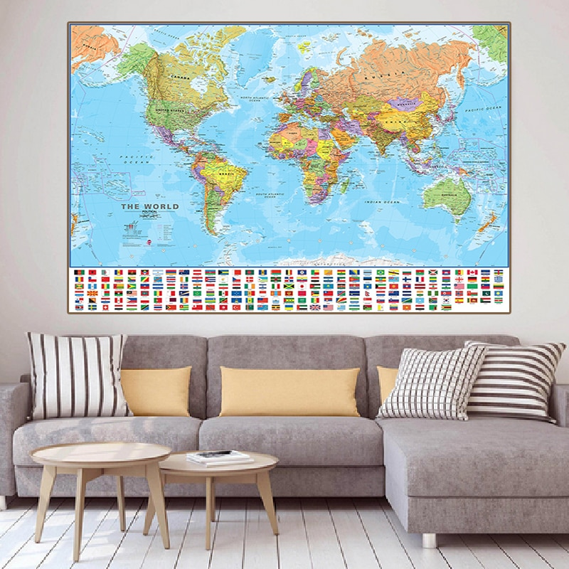 150x100cm The World Political Map Foldable Non-smell World Map Canvas Painting with Flags for Culture Travel Painting Poster